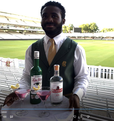 Waiter at Lords launch of Nicholson's gin and la Fée absinthe