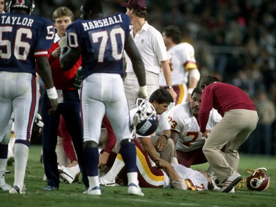 Joe Theismann after his career ending injury, 18th November 1985