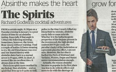 Evening Standard Article regards La Fée absinthe
