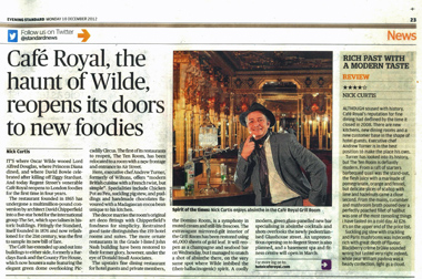 Evening Standard article about Café Royal reopening
