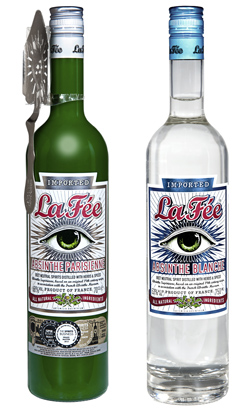 A bottle of La Fée Parisienne and Blanche Absinthe