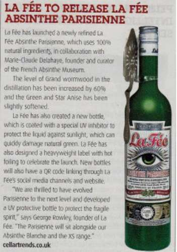 Article about La fée absinthe in Pub Bar Magazine