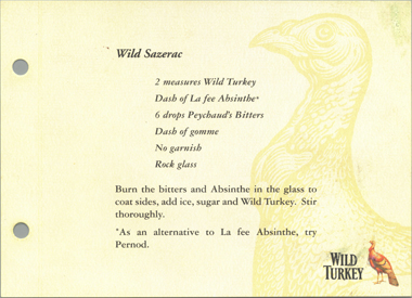 Sazarec recipe with Wild Turkey whisky and la Fée Absinthe