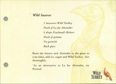 Wild Turkey cocktail recipe with La Fée absinthe