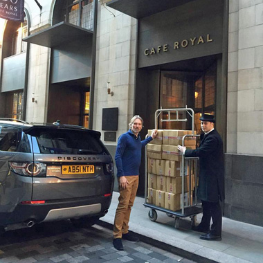 George Rowley delivering La Fée Absinthe fountains to Café Royal