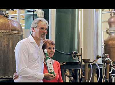 George Rowley and Marie-Claude Delahaye at Cherry Rocher Distillery