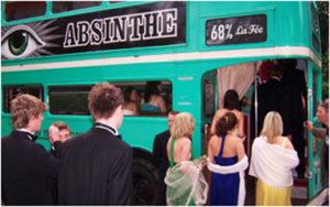Students boarding La Fée absinthe bus