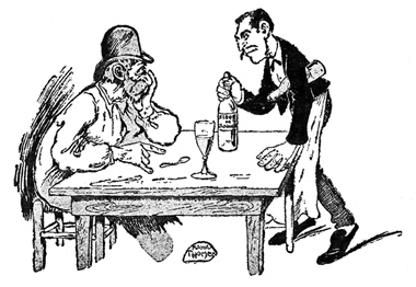 old man in hat drinking absinthe (cartoon)