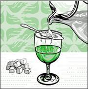 Water being poured over sugar onto La Fée absinthe