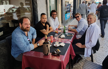 George Rowley having lunch Al Fresco with management of Luxardo and Filliers Gin, Lisbon Oct 2017