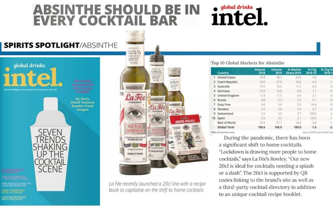 ABSINTHE SHOULD BE IN EVERY COCKTAIL BAR,  by: global drinks intel.