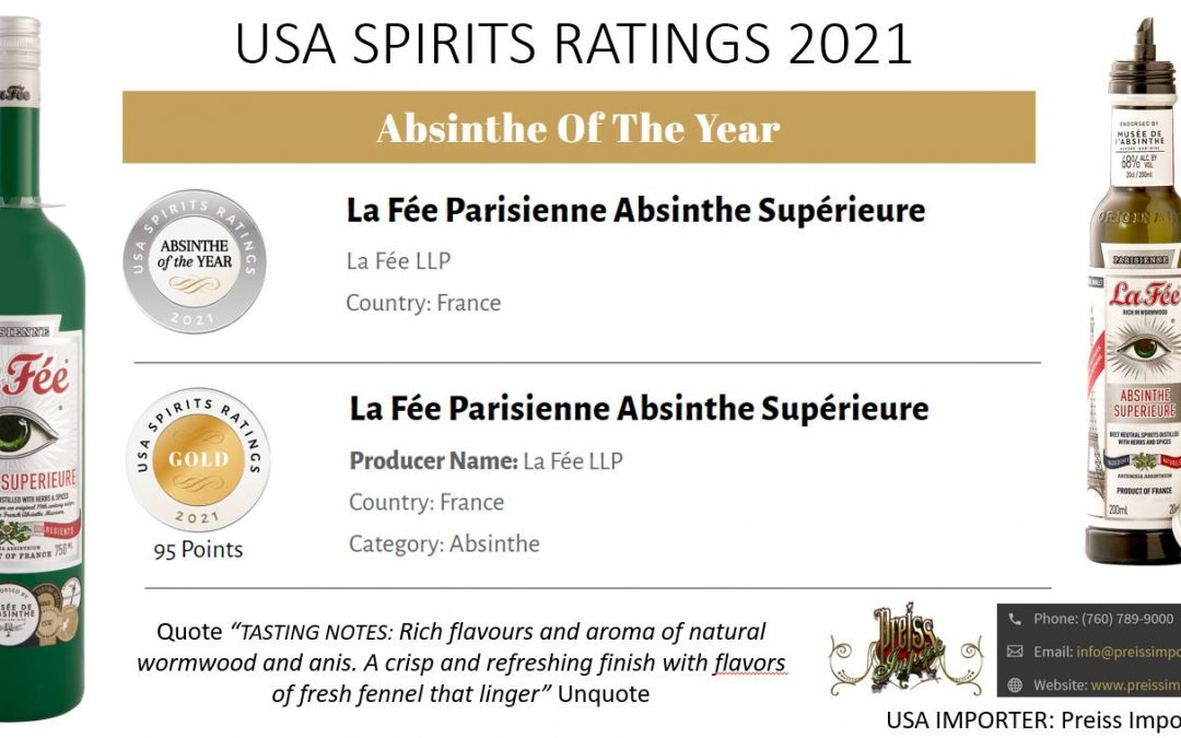 USA Spirits Ratings Absinthe of the Year 2021